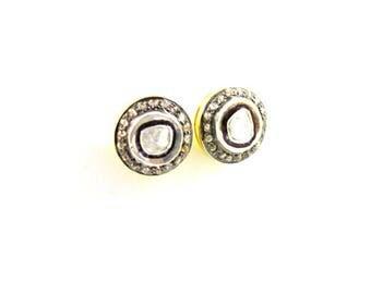 Pave Diamond Earrings, Pave Rose Cut Earrings, Diamond Rose Cut Earrings, Rose Cut Earrings.