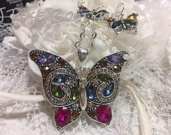CRYSTAL Butterfly Scarf Charm Pendant Jewelry Necklace lace scarf with Earrings