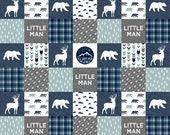 Minky Baby Blanket - Lumberjack Baby Boy Blanket - Navy Baby Boy Bedding - Little Man Baby Blanket - Woodland Nursery - Rustic Nursery - Boy