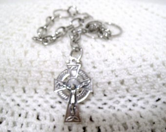 Irish Crucifix  Cross Rear View mirror Charm, Free Shipping, Protector, Silver Circles
