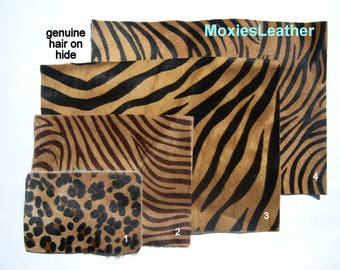 animal print leather - zebra print leather - leopard print leather - leather hide with hair on -