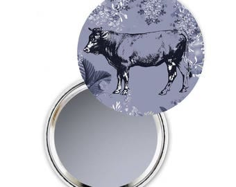 Cow Compact Mirror, Compact Mirror Cow, Mum Gift, Nature Theme, Cow Pocket Mirror, Gift For Her,