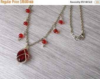 70% Off Jewelry Sale Ruby Red & Silver Chain Necklace, Wire-Wrapped, Country Chic, Boho