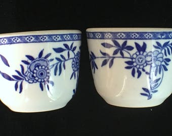 """Vintage Sterling China Restaurant Hotel Delph Blue """"Delph"""" Chinese Tea Cups (One Pair) Excellent Condition"""