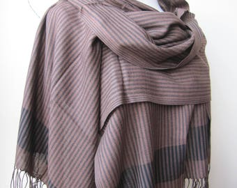 Hijab-Black brown stripe fabric-long scarf / shawl -mens scarves-man fashion mad,scottish,Turkish scarf for spring and winter gifts for him