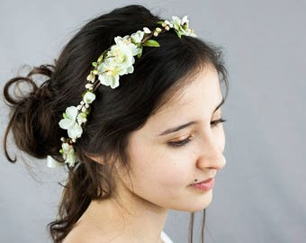 Green and ivory flower Crown: Celina - wedding