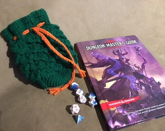 D&D Themed Dragon's Egg Knitted Dice Bag