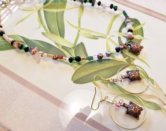 Turtle lovers gift  hoop earrings and necklace 18.00 for Both FREE shipping USA