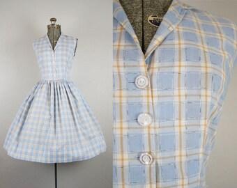 1950's Blue Plaid Shirtwaist Sundress / Size Medium/Large