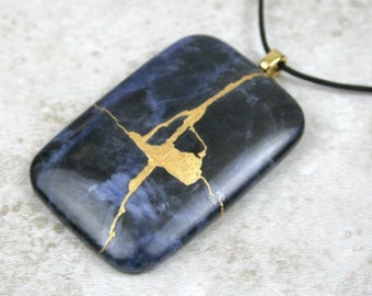 Kintsugi (kintsukuroi) sodalite rectangle stone cabochon pendant with gold repair on cotton cord - OOAK