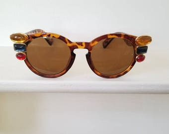 Tortoise Shell Embellished Sunglasses