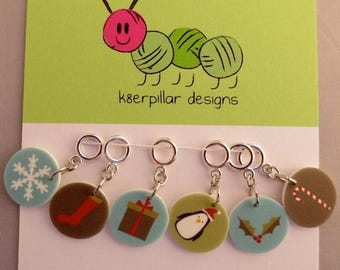 CLEARANCE Snagless Stitch Markers - Classic Christmas