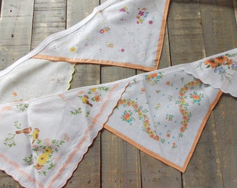 Orange Handkerchief Party Decor, cottage chic garland, orange and peach wall swag, tea party decoration, cotton wedding handkerchief swag