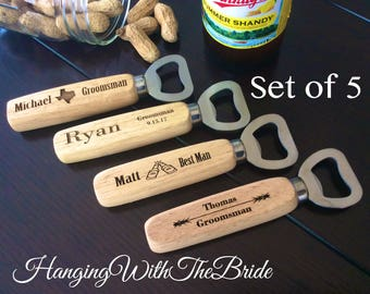 Set of 5 Personalized Bottle Opener, Groomsmen Gift, Wedding Gift, Engraved Wood opener, Custom Bottle Opener, Christmas gifts