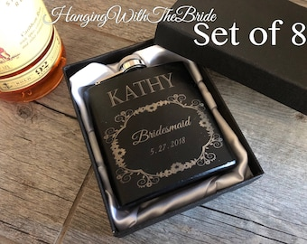 personalized flask, bridesmaid gift, customized flask, bridal gift, wedding gift, bridal party gift, flask, maid of honor gift