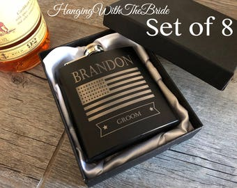 Personalized Flask, Customize flask, Gift Box, Groomsmen Flask Set, Gifts for Groomsmen, Monogram Flask, US Flag, Gift for Dad, Best Man