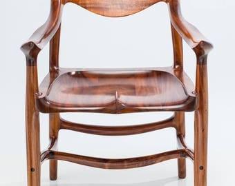 Armchair, Sculpted from Instrument Grade Hawaiian Acacia Koa Wood