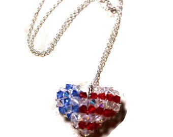 Swarovski Austrian Crystal Woven Puffy 3D Patriotic USA Heart Pendant Flag Necklace United States Colors Red White and Blue Armed Services