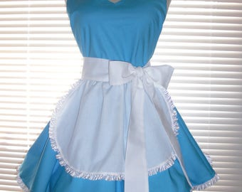 Retro Costume Apron French Maid Apron Blue and White Full Circular Skirt - Ready to Ship