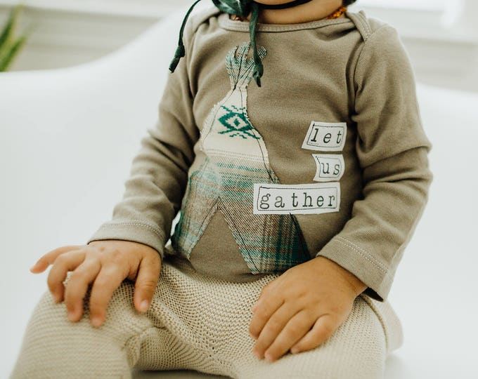 """Swanky Shank Baby Gender Neutral Hand-Dyed """"Let Us Gather"""" Bodysuit or tee"""