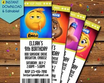Emoji Movie Invitation, Emoji Invitation, Emoji Movie Birthday Invitations, Emoji Birthday, Emoji Movie Party Invite, The Emoji Movie 2017