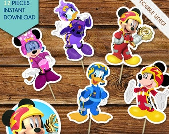 Mickey and the Roadster Racers Cupcake Toppers, Mickey Roadster Racers Toppers, Centerpiece, Cake Toppers, Party Decor, Minnie, Daisy
