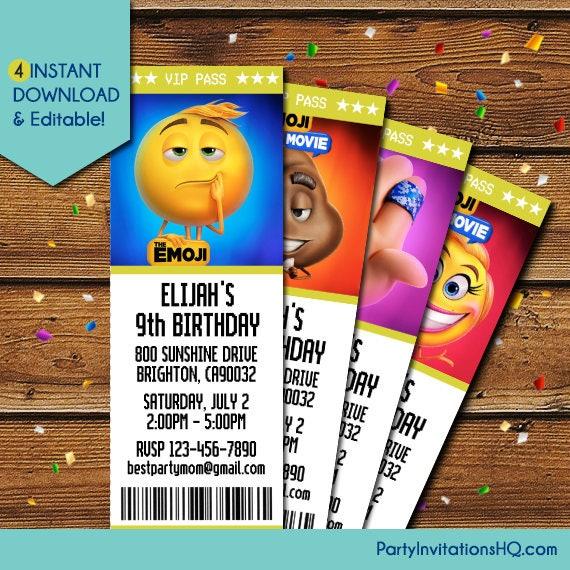 Emoji Invitations Emoji Movie Invitation Emoji Movie Ticket