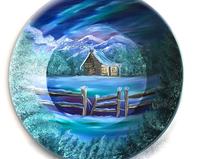 Hand Painted 11 Inch Gold Pans Mountain Winter Cabin and Fence Northern Lights