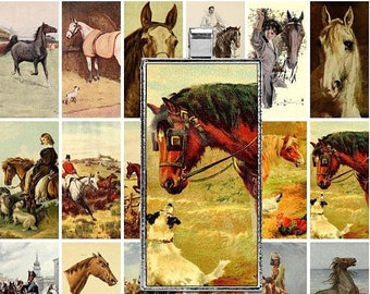 ON SALE 30% OFF Printable Vintage Horses Digital Collage Sheet - 1x2 inch Domino - Jpeg - Clip Art - Instant Download - Downloadable - Comme