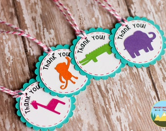 Zoo Animal Favor Tags, Party Animal Favor Tags