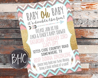 Twins Baby Shower Invite. Twins Shower. Twin babies. Triplets Baby Shower. Aztec invitation. Rustic invitation. Baby Shower Invitation. 5X7