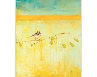 Contemporary Wall Art 'Bird with Horizontal Stripes v2' by Janice Sugg - Urban Birds Decor Modern WIldlife Artwork on Metal or Plexiglass