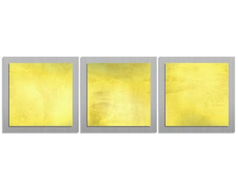 Yellow/Silver Abstract Art - 'Yellow Essence' - 38x12 in. - Yellow Colored Metal Artwork - Modern Wall Art