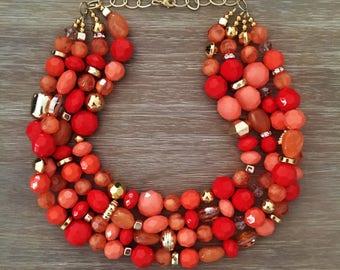 Orange Bead Necklace - Chunky Beaded Statement Necklace Multistrand in Orange