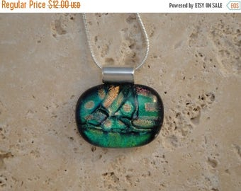 Christmas in July Sale Dichroic Multi-Colored Fused Glass Pendant - BHS01395