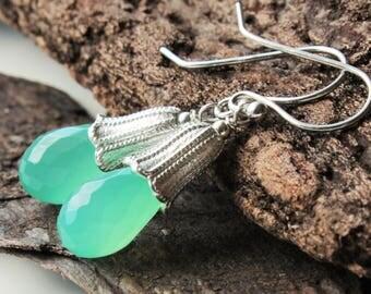 Chrysoprase Earrings, Sterling Silver, mint green gemstone boho earrings, fancy silver cones, dangle earrings, holiday gift for her, 4451