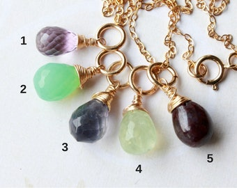 Gemstone Pendant Charm Necklace, Goldfilled wire wrap, dainty petite, amethyst chrysoprase iolite prehnite ruby, layered necklace, gift idea