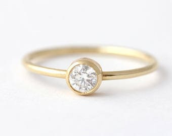ON SALE Delicate Engagement Ring, Simple Engagement Ring, 0.2 Carat Diamond, Minimalist Diamond Ring, Round Cut Diamond Ring