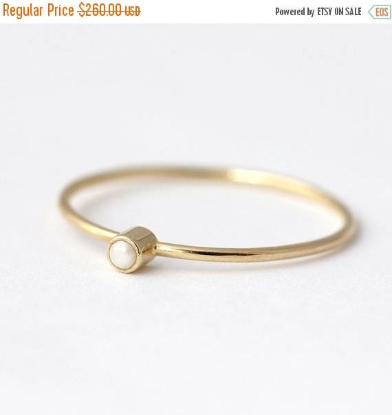 ON SALE Seed Pearl Ring, Promise Ring For Her, Thin Gold Ring, Pearl Engagement Ring, Alternative Engagement Ring, Pearl Ring Gold