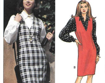 Butterick 6266 Sewing Pattern, Misses V Neck Jumper & Shirt, Size 6-8-10, UNCUT