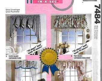 ON SALE McCall's 7484 Home Dec In A Sec Wondow Treatment Sewing Pattern, Valances & Drapes, Uncut