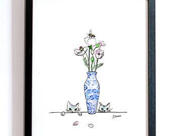 Digital Download: Still Life with Cats--Watercolor Print, Cat Illustration, Art Print, Illustration Print, Flower Print, 8.5x11 Print