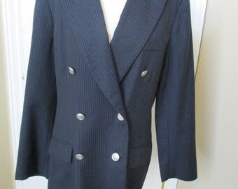 Liz Claiborne Collections Wool Jacket double breasted size 12 lined pin stripes vintage 80's Navy Blue