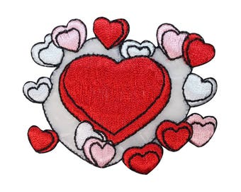 ID 3225 Group of Hearts Patch Valentine's Day Love Embroidered Iron On Applique