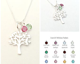 Family Tree Necklace - Sterling Silver Tree Pendant with Swarovski Birthstone Crystals - Personalized, Custom Jewelry - Gift for Mom, Nana