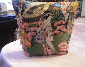 Geisha clutch bag in green and orange