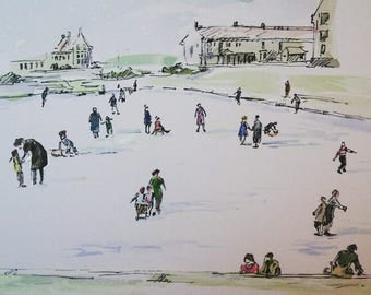 Skating on the pond -print A4