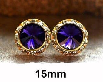 Purple Velvet Stud, Purple and Gold Earrings, 15mm, Swarovski, Rivoli Surrounds, Rhinestone Earrings, Crystal Earrings, Handmade Studs
