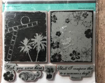 New Large TPC Studio Rubber Cling Stamps Summer Collage Wish You Were Here, 2010967, Set of 7 Stamps, Palm Tree Stamp, Shall I Compare Thee