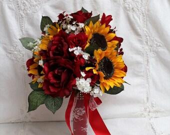 Red Rose Bouquet, Sunflower Bouquet, Rustic Barn Wedding, Fall Wedding Bouquet, Rustic Wedding Bouquet, Winter Wedding Bouquet